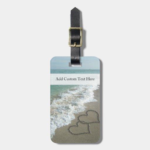 coeurs romantiques de plage tiquette de bagage zazzle. Black Bedroom Furniture Sets. Home Design Ideas