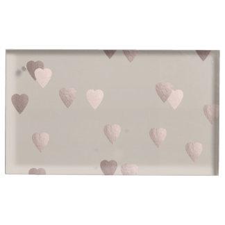 coeurs roses clairs simples d'amour de feuille porte-cartes de  table