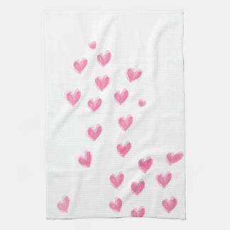 Coeurs roses d'aquarelle - serviette de cuisine