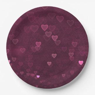 Coeurs roses de Bokeh Assiettes En Papier