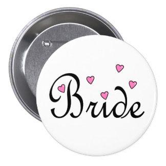 Coeurs roses de jeune mariée badge