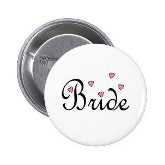 Coeurs roses de jeune mariée badge rond 5 cm