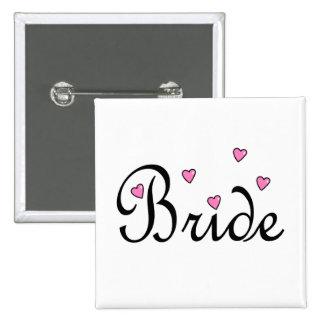 Coeurs roses de jeune mariée badges