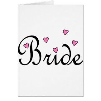 Coeurs roses de jeune mariée carte de vœux