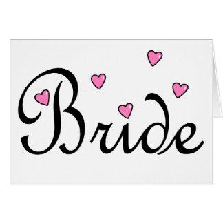Coeurs roses de jeune mariée cartes de vœux