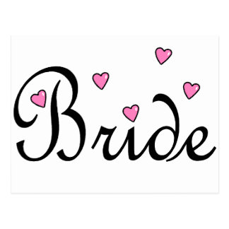 Coeurs roses de jeune mariée cartes postales