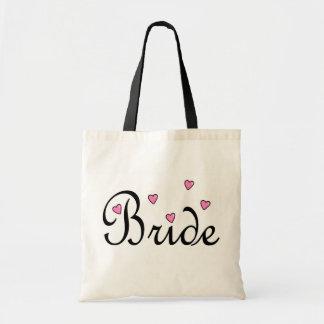 Coeurs roses de jeune mariée sac de toile