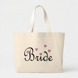 Coeurs roses de jeune mariée sacs en toile