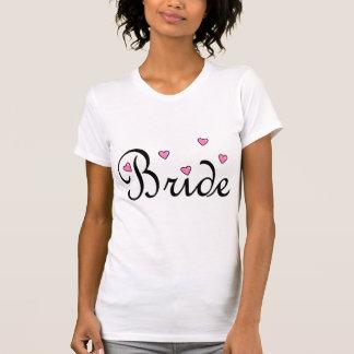 Coeurs roses de jeune mariée t-shirts