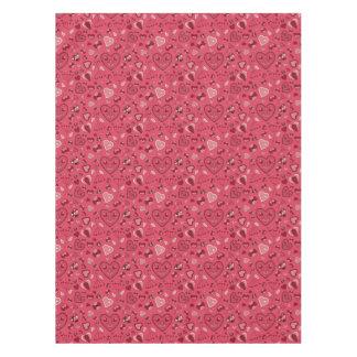 Coeurs roses et nappe faite sur commande de coton