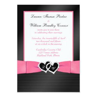Coeurs roses et noirs de plis de FAUX épousant Carton D'invitation 12,7 Cm X 17,78 Cm