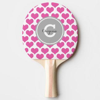 Coeurs roses personnalisés raquette tennis de table