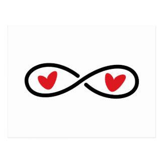 Coeurs rouges de symbole d'infini épousant des éco carte postale