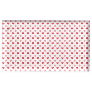 coeurs rouges élégants et motif de pois rose porte-photo