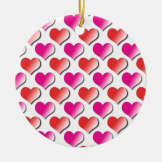 Coeurs rouges et ornement rose de motif de point