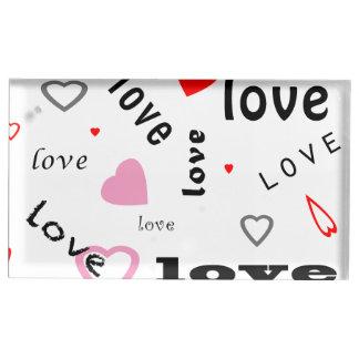 coeurs rouges et roses d'amour de conception des porte-carte de table