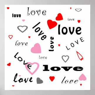 coeurs rouges et roses d'amour de conception des poster