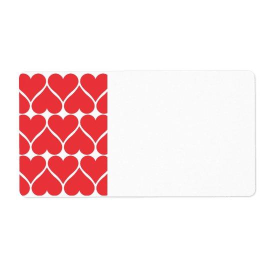 Coeurs rouges étiquettes d'expédition