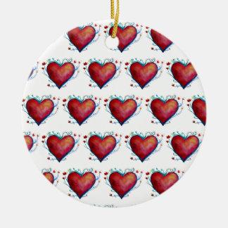 Coeurs rouges, ornement de Valentine