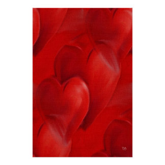 Coeurs rouges sur des affiches de toile