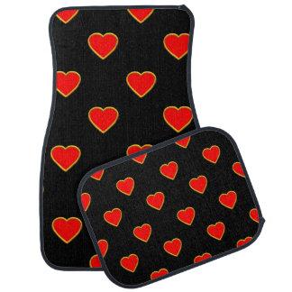 Coeurs rouges sur un arrière - plan noir tapis de voiture