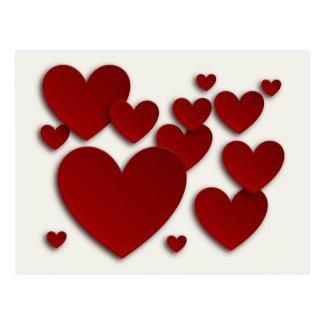Coeurs tridimensionnels rouges - carte de