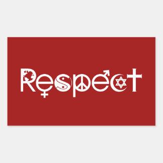 Coexistent avec le respect - la gentillesse et la sticker rectangulaire