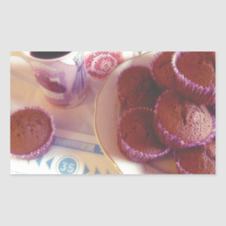 Coffee, chocolate muffins and reflection sticker rectangulaire