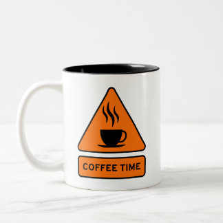 Coffee Time Hazard Sign Tasse 2 Couleurs