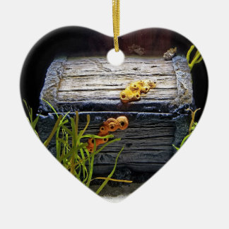 Coffre au trésor sous-marin frais ornement cœur en céramique