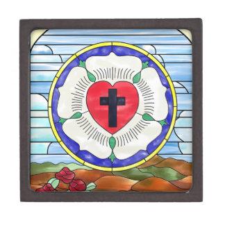 Coffret A Bijoux Fenêtre en verre teinté de joint de Luther