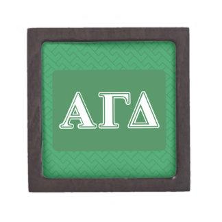 Coffret A Bijoux Lettres blanches et vertes d'alpha delta gamma