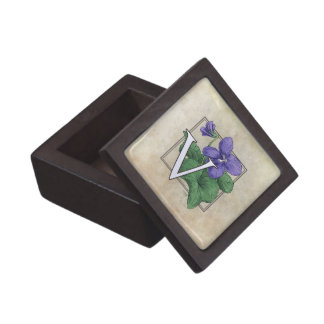 Coffret A Bijoux V pour le monogramme violet de fleur