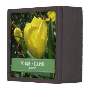 Coffret Cadeau De Première Qualité Boîte jaune d'anneau de mariage de tulipe