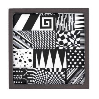 Coffret Cadeau De Première Qualité main blanche de motif de noir géométrique abstrait