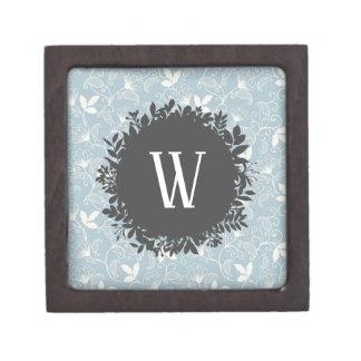 Coffret Cadeau De Première Qualité Motif floral blanc et bleu-clair avec le