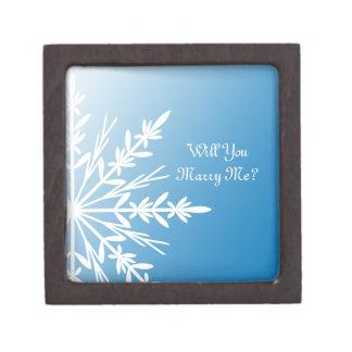 Coffret Cadeau De Première Qualité Vous m'épouserez boîte bleue d'anneau de flocon de