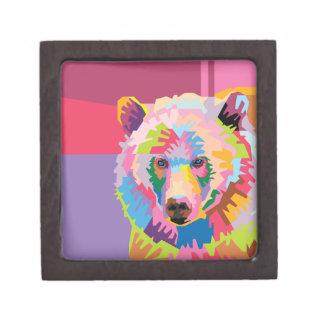Coffrets Cadeaux De Première Qualité Boîte colorée de souvenir de portrait d'ours d'art