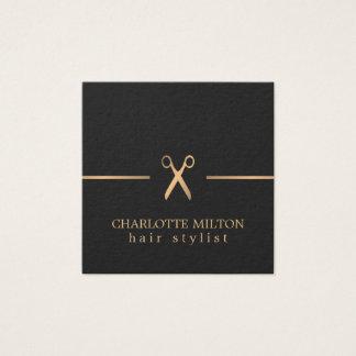 Coiffeur chic élégant moderne de noir d'or de Faux Carte De Visite Carré