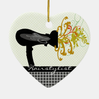 Coiffeur de soufflement de fleurs de sèche-cheveux ornement cœur en céramique