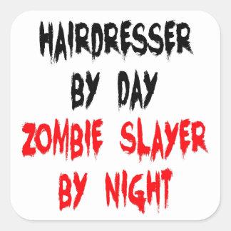 Coiffeur de tueur de zombi autocollants carrés