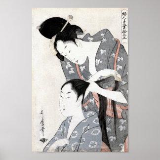 Coiffeur par la copie de beaux-arts de Kitagawa Posters