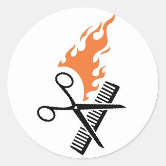 Coiffeur sur le feu sticker rond