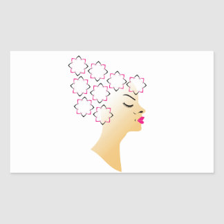 Coiffure florale sticker rectangulaire