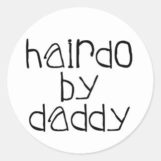 Coiffure par le papa sticker rond