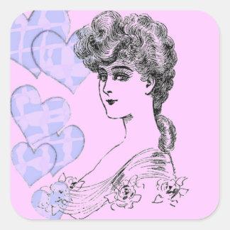 Coiffure vintage sticker carré