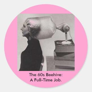 Coiffure vintage de ruche d'années '60 de ~ autocollant rond