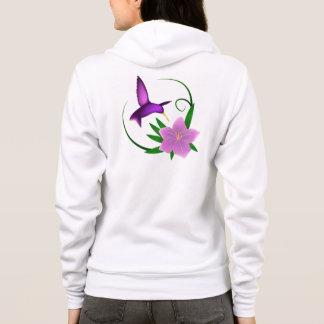 Colibri avec le sweat - shirt à capuche de fleur