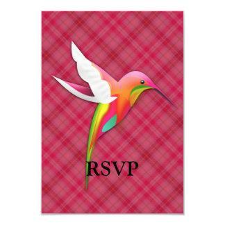 Colibri coloré avec le plaid rose vif carton d'invitation 8,89 cm x 12,70 cm