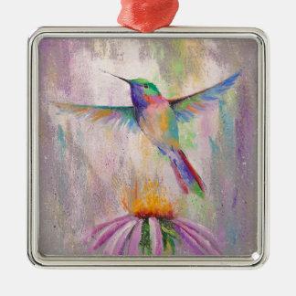 Colibri de vol ornement carré argenté